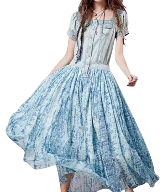 Preload https://img-static.tradesy.com/item/24147896/blue-and-white-bohemian-denim-patchwork-long-casual-maxi-dress-size-4-s-0-1-650-650.jpg