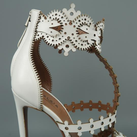 ALAA T-strap Laser Cut New Lace White Sandals