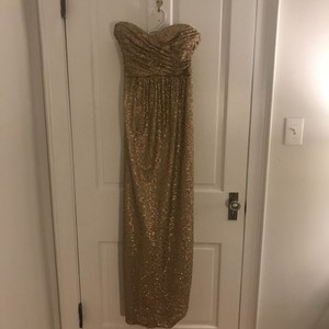 Amsale Gold Nylon Tulle + Polyester Sequins Formal Bridesmaid/Mob Dress Size 10 (M)