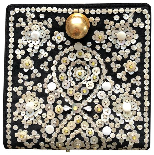 Tory Burch Darcy Clutch Embellished Black Leather W/Mother Of Pearl Embellishments Wristlet Tory Burch Darcy Clutch Embellished Black Leather W/Mother Of Pearl Embellishments Wristlet Image 1