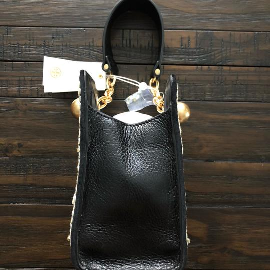 Tory Burch Wristlet in Black Leather w/Mother of Pearl embellishments