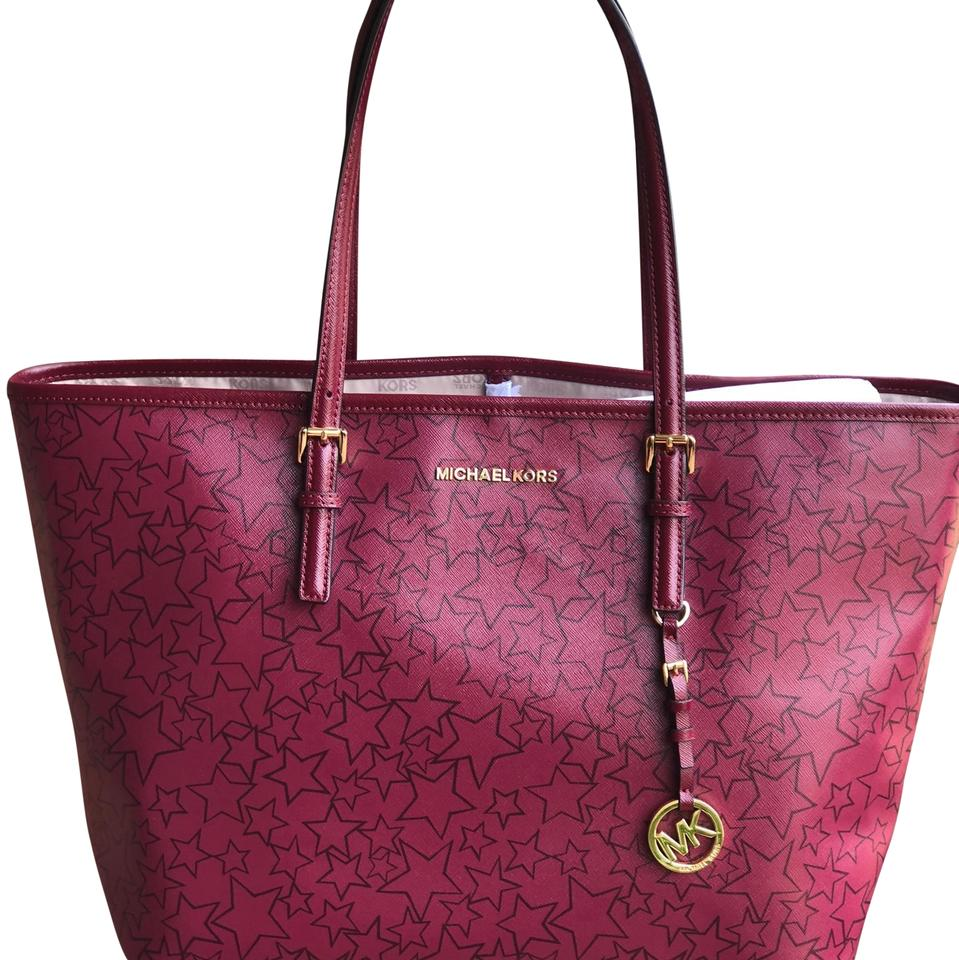 mulberry plum  Michael Kors Jet Set Travel Large Caryall Star Mulberry/ Plum ...