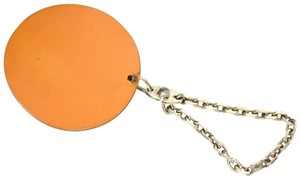 Hermès Auth HERMÈS Leather 925 Silver Key Strap Bag Charm Orange Fruit Charm