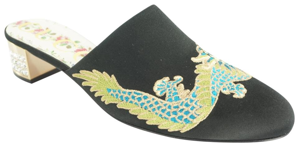 1380a824f Gucci Black Candy Satin Embroidered Dragon Mule Crystal Heel Pumps ...