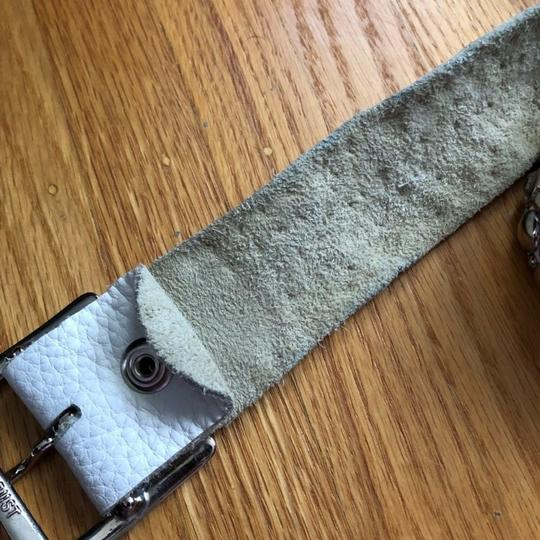 One of a kind White leather bejeweled/studded belt