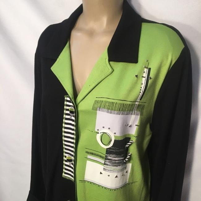 City Girl by Nancy Bolen Button Down Shirt Black/Green