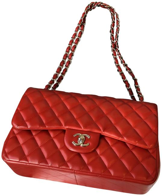 Chanel Classic Flap Jumbo 2012 Cruise Collection 81550 Red with Silver Hardware Lambskin Leather Shoulder Bag Chanel Classic Flap Jumbo 2012 Cruise Collection 81550 Red with Silver Hardware Lambskin Leather Shoulder Bag Image 1