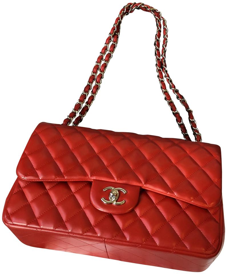 3976eaaae952 Chanel Classic Flap Jumbo 2012 Cruise Collection 81550 Red with Silver  Hardware Lambskin Leather Shoulder Bag