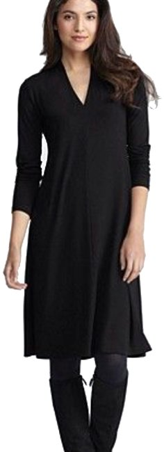 Preload https://img-static.tradesy.com/item/24148152/eileen-fisher-black-high-v-neck-knee-length-mid-length-workoffice-dress-size-0-xs-0-1-650-650.jpg