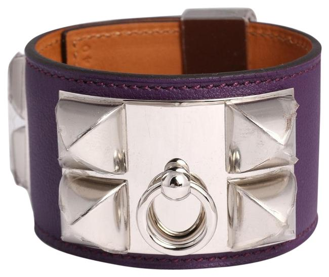 Hermès Purple Swift Leather Collier De Chien Cdc Bracelet Hermès Purple Swift Leather Collier De Chien Cdc Bracelet Image 1