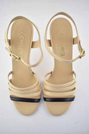 Chanel Slide Backless Mule Stiletto Chain beige Pumps