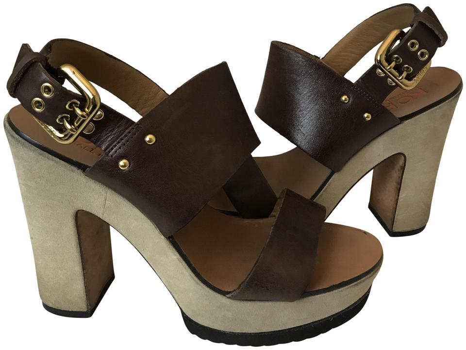80f726453afd Michael Kors Brown 8918 Chunky Suede Heel Sandals Size US 7 Regular ...