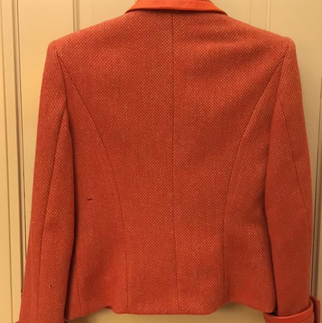 Guy Laroche Tweed Vintage Leather Coral red Blazer