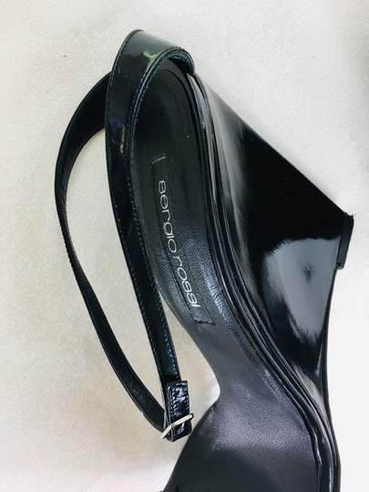Sergio Rossi Sandal Strappy Black patent Wedges