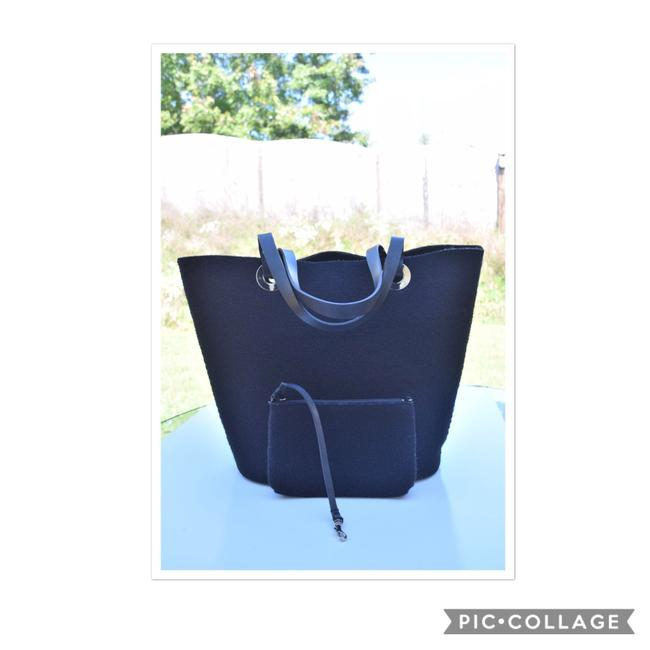 Banana Republic Pouch Black Wool & Leather Tote Banana Republic Pouch Black Wool & Leather Tote Image 1