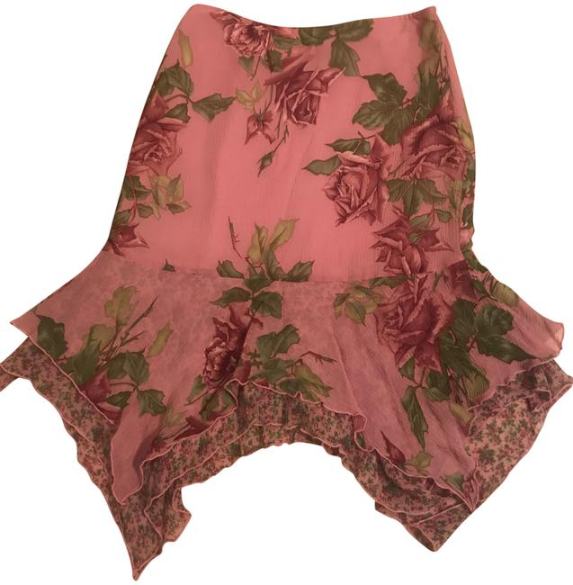 Item - Pink With Rose Print Silk Rn# 77751 Skirt Size 6 (S, 28)