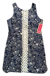 Lilly Pulitzer short dress Blue and White Fish Pattern with White Embellishments on Tradesy