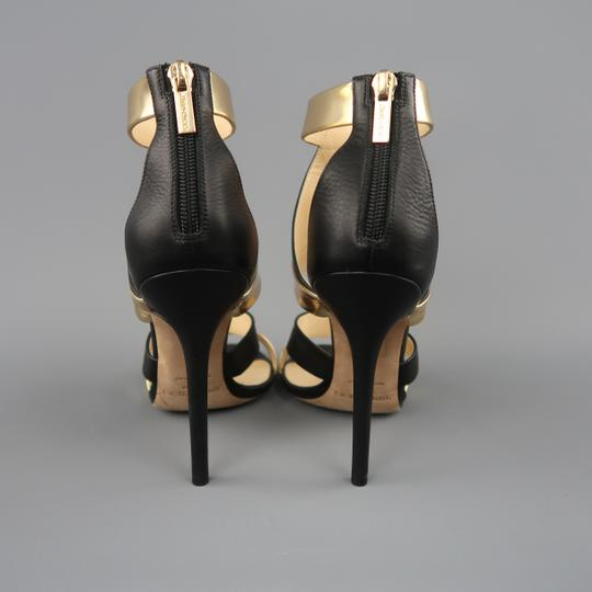 Jimmy Choo Metallic Color Strappy Black & Gold Sandals