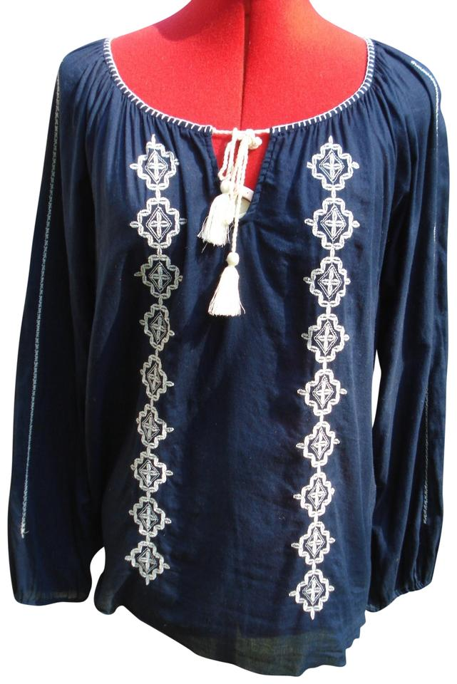 ec2bfae62ad9fc Lucky Brand Embroidered Blue Hippie Chic Bohemian Boho Peasant Top Navy  with White Image 0 ...