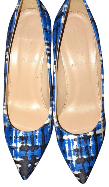 J.Crew Brilliant Cobalt Everly Printed Pointy Toe Pumps Size US 6 Regular (M, B) J.Crew Brilliant Cobalt Everly Printed Pointy Toe Pumps Size US 6 Regular (M, B) Image 1