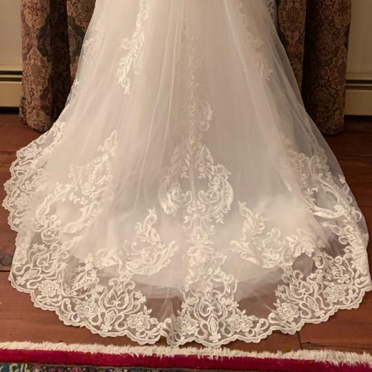 Eddy K Off White With Lace Cathedral Train Feminine Wedding Dress Size 2 (XS)