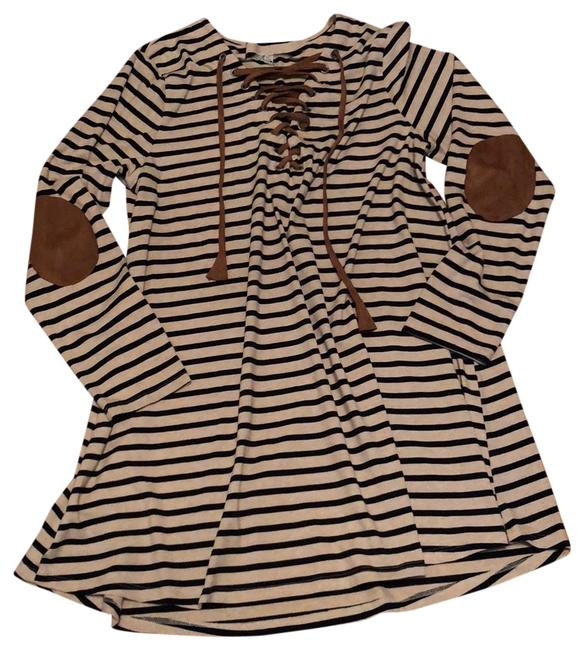 Preload https://img-static.tradesy.com/item/24148695/umgee-beige-and-black-striped-tie-front-elbow-patches-short-casual-dress-size-10-m-0-1-650-650.jpg
