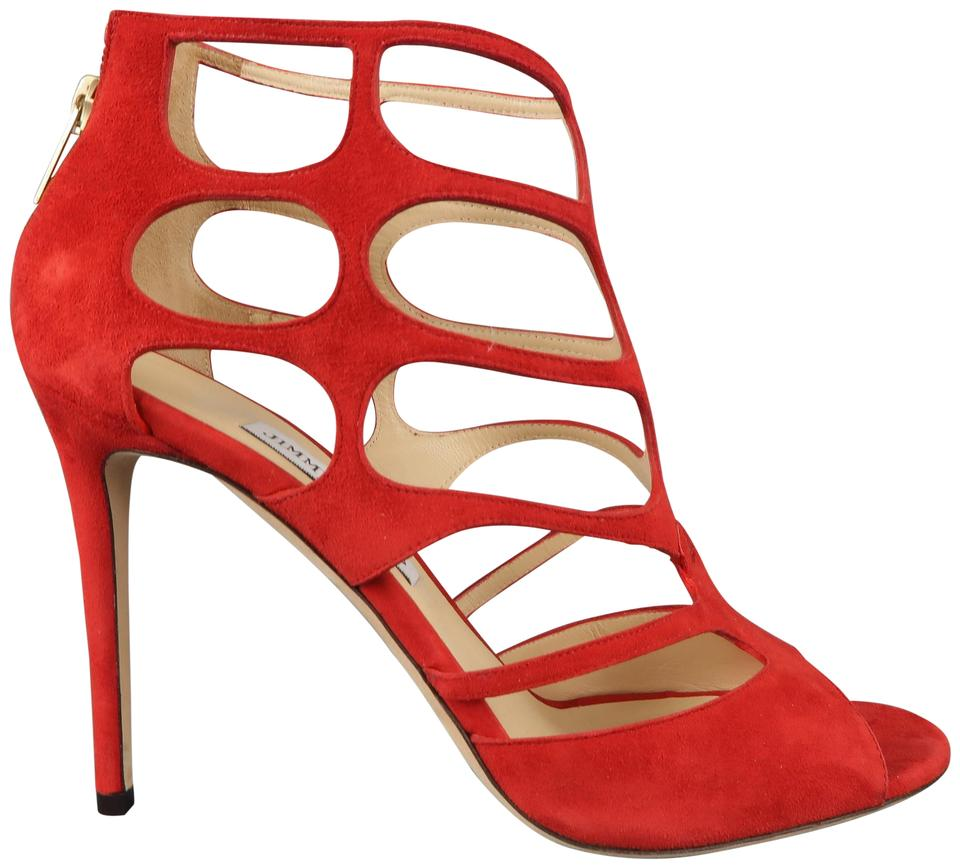 1534e233f3bf Jimmy Choo Red Suede Ren 100 Cage Sandals Size US 11 Regular (M