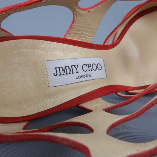 Jimmy Choo Ren 100 Cutout Cage Suede Red Sandals
