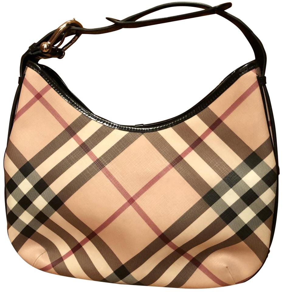 3fb95671358 Burberry Medium Barton Nova Check Black Tan and Red Coated Canvas Patent Leather  Hobo Bag