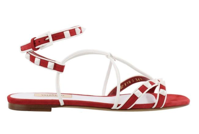 Valentino Red Rockstud Free Spike Stud White Suede Ankle Strap Flat Sandals Size EU 38 (Approx. US 8) Regular (M, B) Valentino Red Rockstud Free Spike Stud White Suede Ankle Strap Flat Sandals Size EU 38 (Approx. US 8) Regular (M, B) Image 1