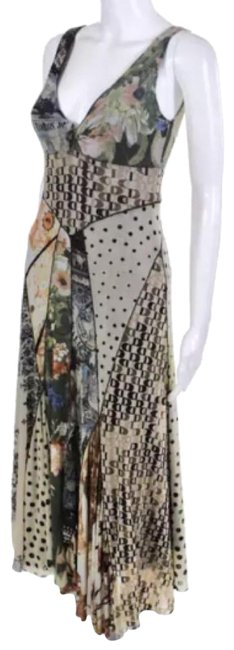 Preload https://img-static.tradesy.com/item/24148816/fuzzi-womens-beige-green-brown-patchwork-v-neck-fitted-a-line-long-short-casual-dress-size-4-s-0-1-650-650.jpg