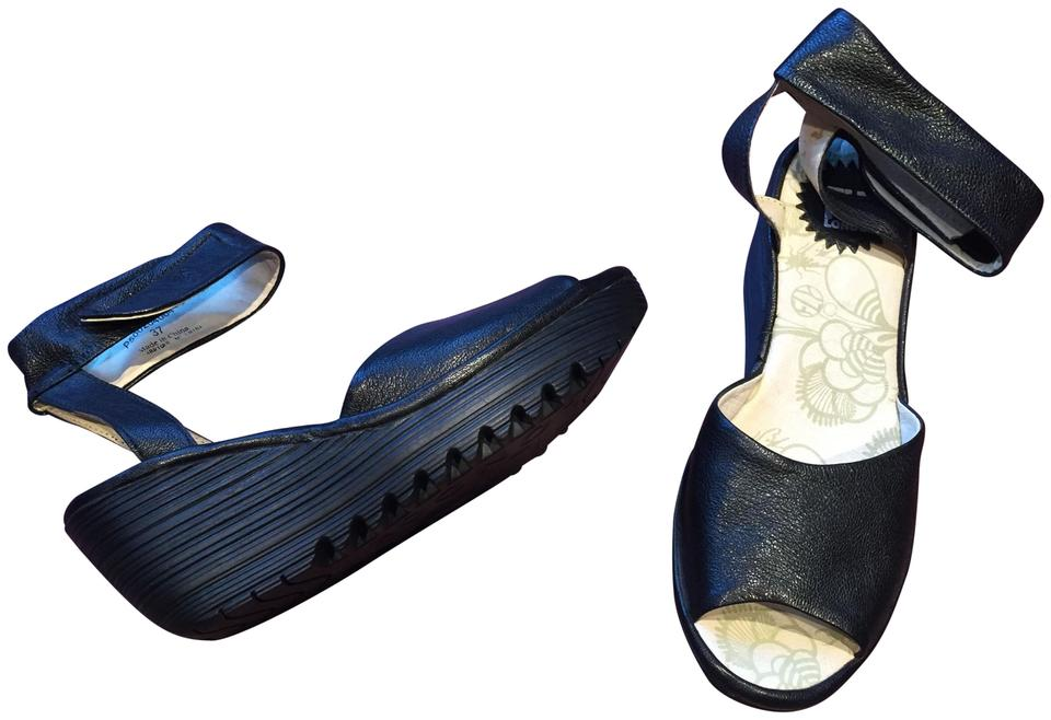 36d6a6c8903cf FLY London Leather Wedge Peep Toe Ankle Strap black Sandals Image 0 ...