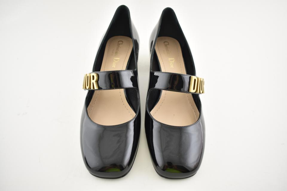54fb81ae5cab Dior Black D Patent Leather Gold Logo Mary Jane Ballet Heel Pumps Size EU  37.5 (Approx. US 7.5) Regular (M