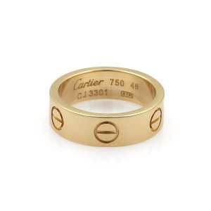 Cartier Love 18k Yellow Gold 5.5mm Band Ring Size 49 w/Cert.