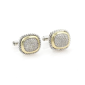 David Yurman Albion Pave Diamonds Sterling & 18k Gold Cable Cufflinks