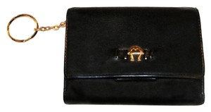 Etienne Aigner Etienne Aigner Black Leather Trifold Wallet with Key Fob
