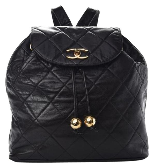 Item - Drawstring Quilted Black Lambskin Leather Backpack