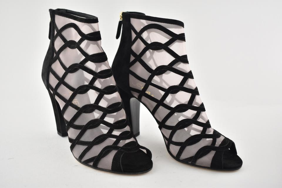 85ce9a2777d Chanel Black 18c Mesh Suede Strappy Cc Caged Sandal Heel Short ...