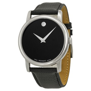 Movado Silver Stainless Steel Black Museum Dial 38mm Mens 2100002 Swiss Made