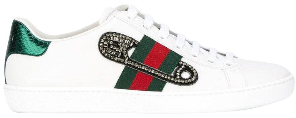 016aa995c43 Gucci White Ace Leather Safety Pin Red Green Web Low Top Lace Up ...
