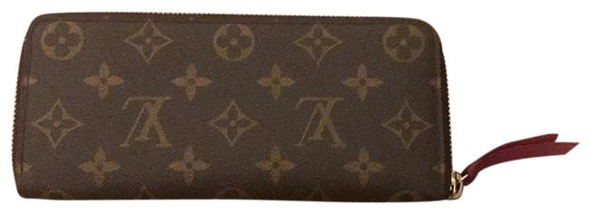 Item - Monogram Canvas Brown with Pink Zipper and Interior Lambskin Leather Clutch