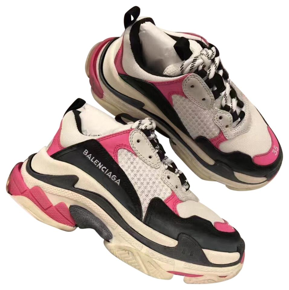 3cce7119fb Balenciaga Pink Black White Colorblock Washed Triple S Sneakers with ...