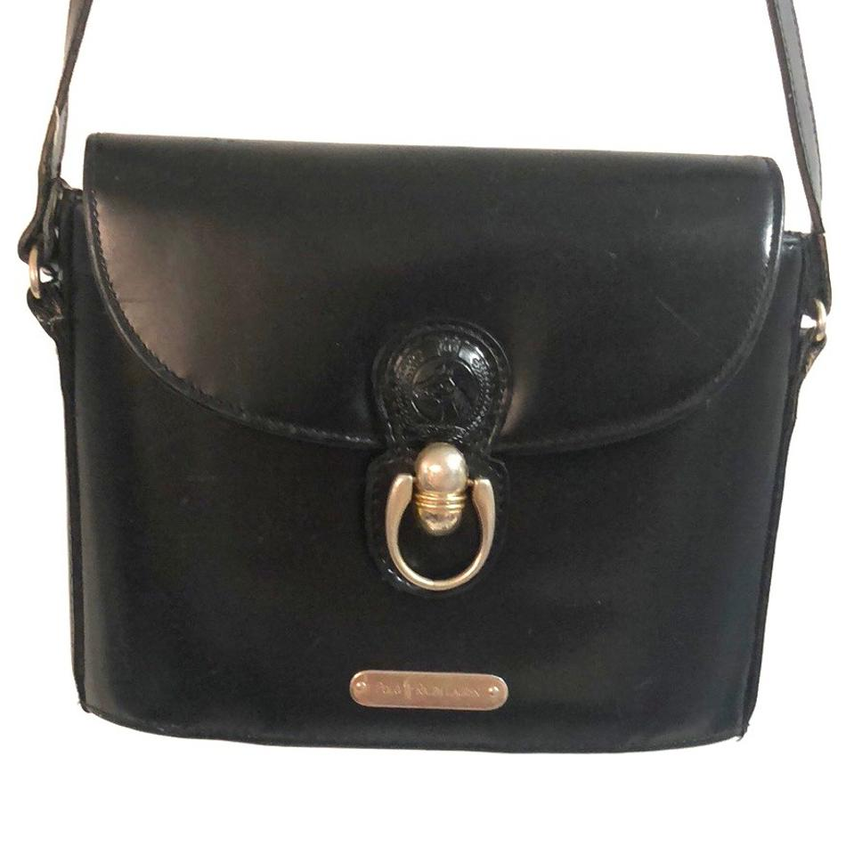 Polo Ralph Lauren Vintage Black Crossbody Purse Leather Messenger ... 15693bc1e0c66