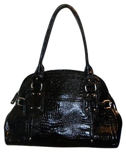 Nine West Bowling Diaper Satchel in Black Patent