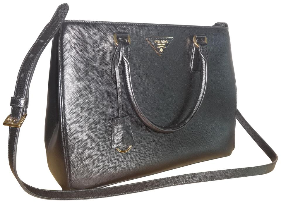 Prada Galleria Double Lux Medium Saffiano Tote Excellent Condition Black  Leather Cross Body Bag 995e4eab3a8d7