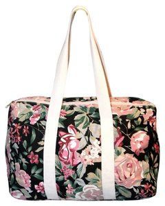 Fabric Black Beach Weekender Floral Multicolor Travel Bag