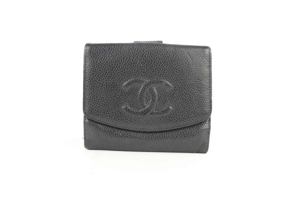 66ef57b78f9 Chanel Black Caviar CC Logo Square Compact Change Purse Wallet 6cz1005  Image 0 ...