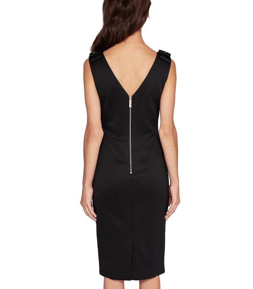 fb4a8f69ae3 Ted Baker Black London Belliah Bow Shoulder Bodycon Mid-length Cocktail  Dress Size 4 (S) - Tradesy