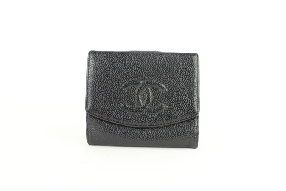 e4a0150e124 Chanel Small Logo CC Caviar Black Coin Purse Square Compact Wallet 14cz1005  Image 0 ...