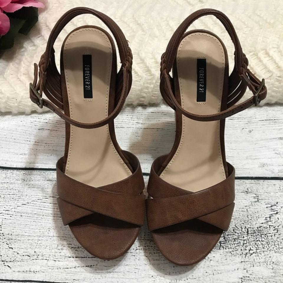 0761fc3ae76 Forever 21 Brown Ankle Strap Sandals Wedges Size US 5.5 Regular (M ...